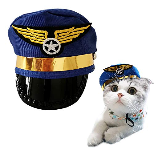 PET SHOW Small Medium Dogs Cats Hat Party Halloween Costume Grooming Accessory Photo Props for Pets Puppy Doggies Kitten Pack of 1 (Blue)]()
