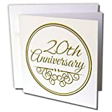 3dRose 20th Anniversary gift - gold text for celebrating wedding anniversaries - Greeting Cards, 6 x 6 inches, set of 12 (gc_154462_2)