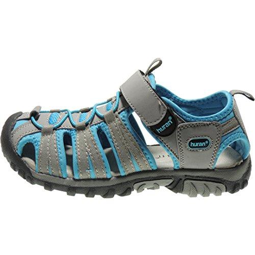 Sandalia Deportiva Grey A1106 Velcro de Blue y Planta con Llana Piel Mujer Lt Modelo de HURÁN Ajustes para 5pwdqHpZ