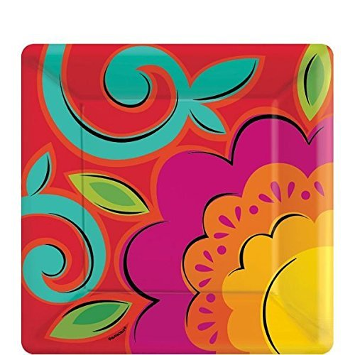 Caliente Flowers Square Dessert Plates]()