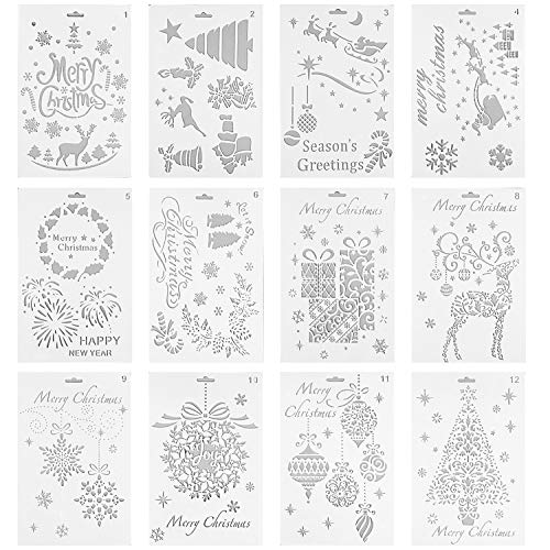 (Lystin 12Pcs Christmas Painting Stencils, Plastic Stencil Bullet Journal Stencil Template Christmas Themes Santa Claus Christmas Tree Snowflakes Reindeers for Card DIY Drawing Craft Project 7
