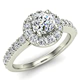 1.00 ct tw Round Diamond Cathedral Style Halo Engagement Ring 14K Gold (J,I1) Popular Quality