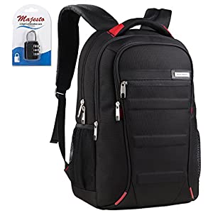 Business Laptop Backpack for 17 Inch Notebook for Travel and Commute with Bottle Holders and Lots of Pockets Water Resistant Large Padded Ergonomic Light Professional Black Red + Padlock Bundle