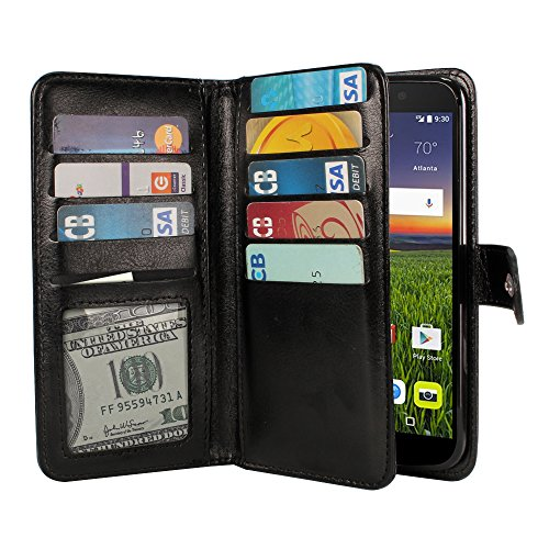 NEXTKIN Case Compatible with Alcatel Idol 4 DALK4004 BlackBerry DTEK50 Nitro 4, Leather Dual Wallet TPU Cover, 2 Pockets Double Flap, Multi Card Slots Snap Button Strap for Alcatel Idol - Nitro Leather