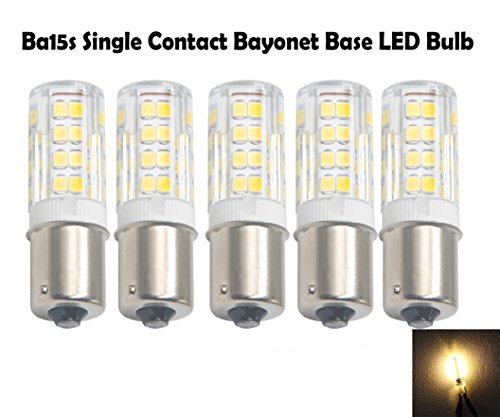Ashialight 35-Watt BA15s Single Contact Bayonet Bulb,120-volt LED Bayoent Bulb Soft White ,52pcs Super bright LEDs,120 volts,Replaces 25 watt Ba15s Light Bulb (Pack of 5) (Contact Single Ba15s)