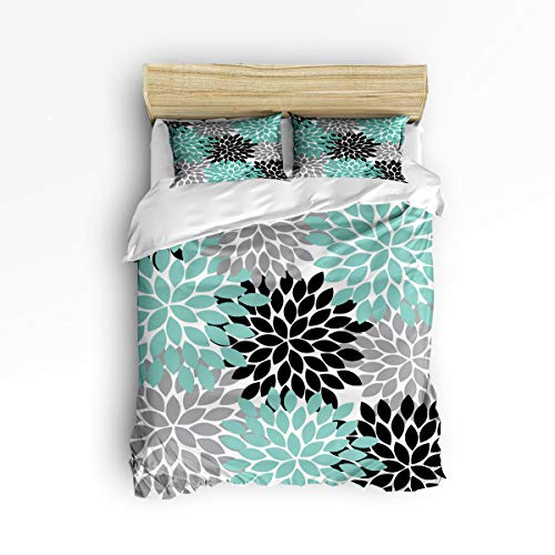 - 3 Piece Polyester Fabric Bedding Set with Zipper Closure King Size, Simple Flower Dahlia Black Grey Green Comforter Cover Set Duvet Cover with 2 Pillow Shams for Girls/Boys/Kids/Children/Teen/Adults