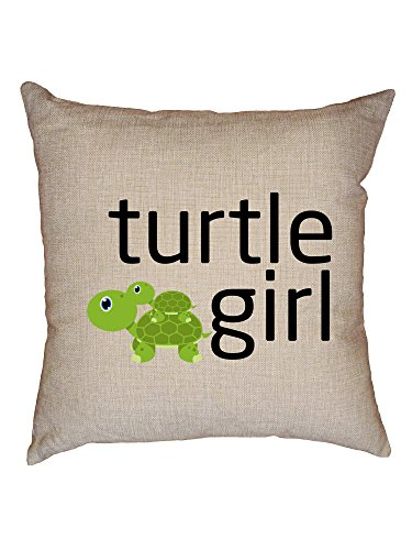 Hollywood Thread Turtle Girl - Baby Turtle Riding on Momma Turtle Decorative Linen Throw Cushion Pillow Case with Insert ()