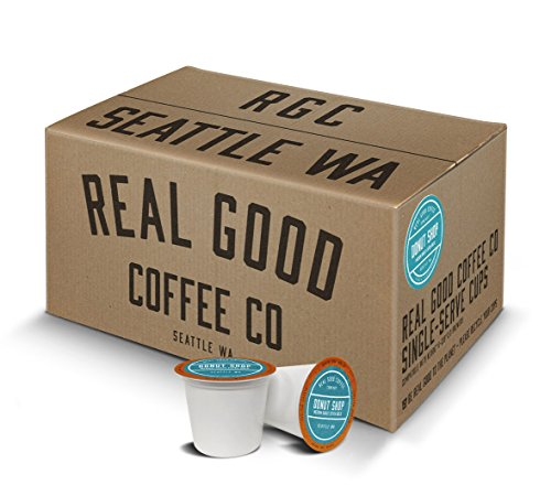 Real Good Coffee Co Recyclable K Cups, Donut Shop Medium Roast, For Keurig K-Cup Brewers, 72 Single Serve Coffee Pods Brown Double Old Fashioned