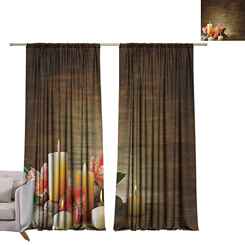 - berrly Tie Up Printed Blackout Curtain Spa,Spa Composition with Many Candles Wellbeing Unity Neutrality Icons Calm Happiness Theme, Multicolor W96 x L108 Tie Up Window Drapes Living Room