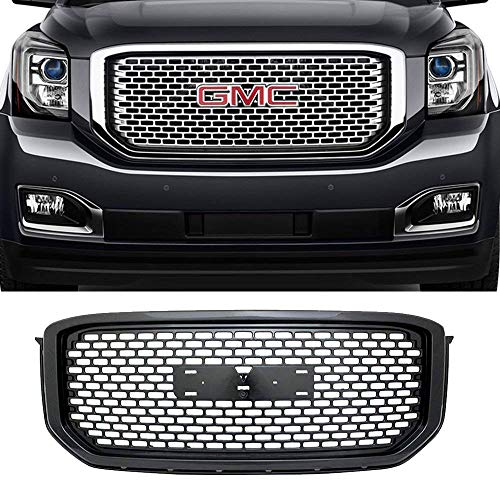 AA Products Sport Square Mesh Grille Compatible GMC Yukon/XL/Denali 2015 up to 2019 Front Hood Bumper Grill Grille with Emblem Base Gloss Black ()
