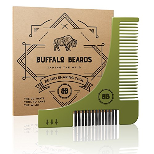 The Ultimate Beard Shaping Tool - Groom Guide Stencil from Buffalo Beards - With Beard Brush, Beard Comb, Beard Shaper Template and Guide