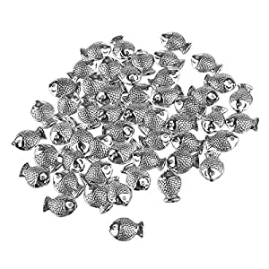 Tinksky Small Fish Spacer Beads Jewelry Making Beads DIY Accessories - 50pcs (Silver)