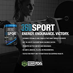 360SPORT- BCAA Branched Chain Amino Acid and MCT Oil Formula with Citrulline Malate for Optimal Athletic Performance and Recovery in Men and Women. Great-tasting Blue Raspberry Flavor
