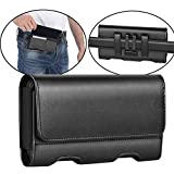 Mopaclle LG G7 ThinQ/ G8 ThinQ Holster Case, Premium Leather Belt Clip Case Cell Phone Pouch with ID Card Holder for LG X Charge/LG X Power 2/ LG G7 Fit/LG G7 One/LG G7 (Fits Phone w/Thin Case)