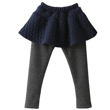 BOZEVON Niñas Niños Algodón Splicing Pantalones Falda - Otoño Niño ...