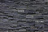 Picture wallpaper 3D effect Black Stonewall Mural Decoration Tapestry in black stone optic Stone wall Living room 3D wallpapers Stone I paperhanging poster wall decor by GREAT ART (82.7x55 Inch)