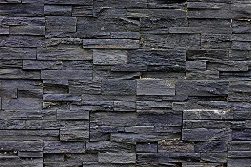 Great Art Black Stonewall Photo Wallpaper - Asian Style Wall Decoration Stones Mural Natural Dark Stone Poster Modern Design (55 Inch x 39.4 Inch)
