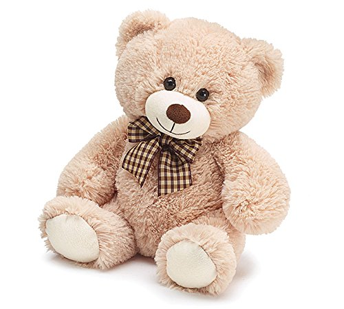 - Plush Beige Teddy Bear With Checked Bow - 10 Inch Sitting