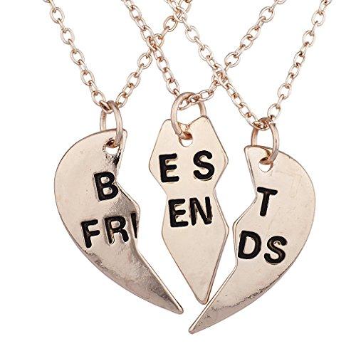 Gold Tone Accessories (Lux Accessories Rose Gold Tone Best Friends BFF Broken Heart Necklace Set 3PC)