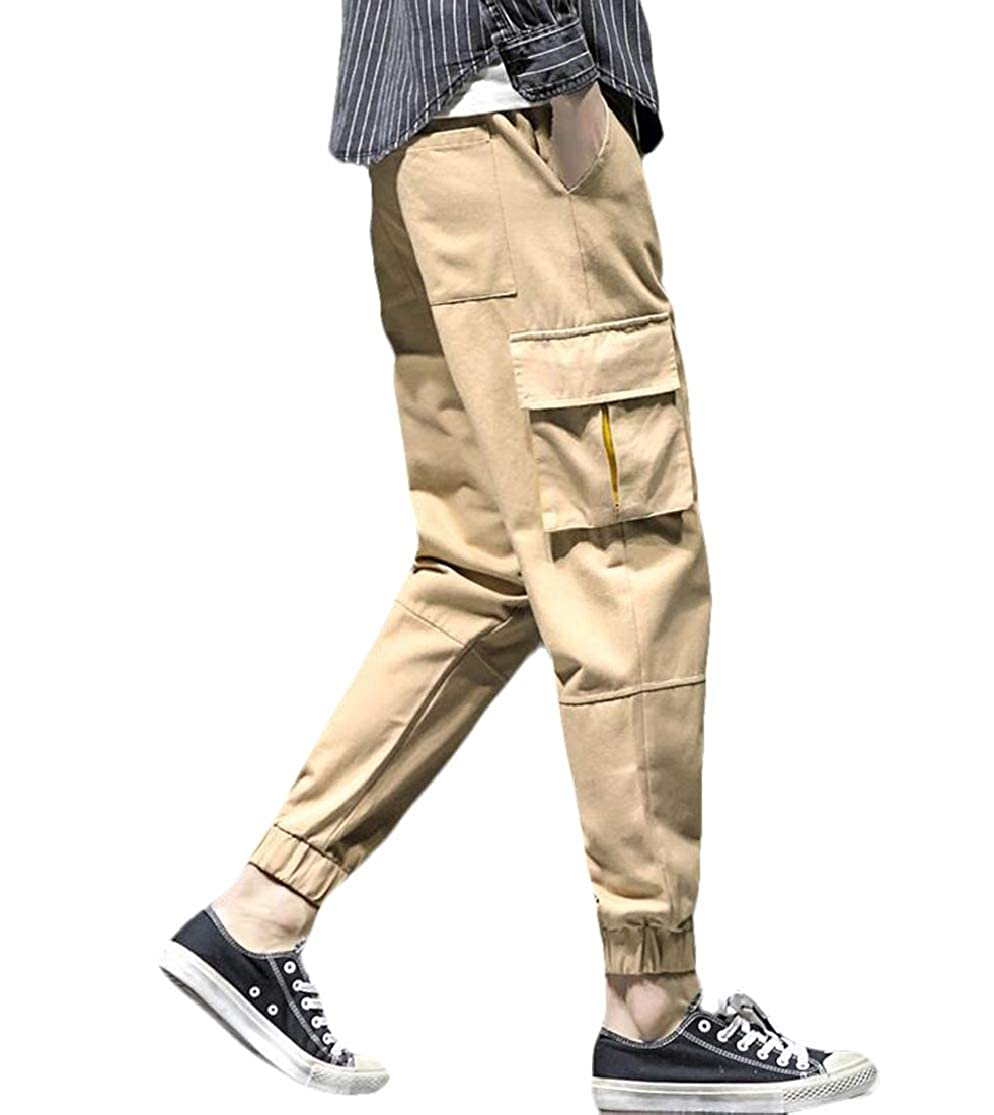 KLJR Men Utility Casual Hip Plus Size Multi-Pockets hop Pants Trousers