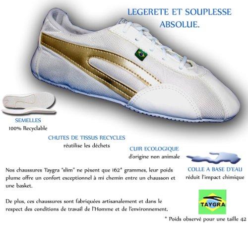 TAYGRA - Baskets homme Slim Blanche/Or - Dernières paires 36,42
