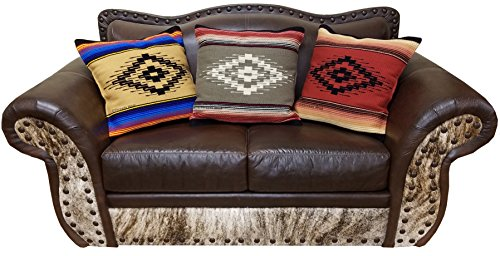 Old Saltillo Throw Pillow Covers 18 X 18, Hand Woven Southwest, Mexican, and Native American Styles. Hand Crafted Western Decorative Pillow Cases. (Terracota Saltillo 4)