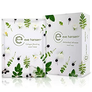 Collagen Facial Mask by Eve Hansen (5X Sheet Masks). Collagen Building Moisturizing Face Mask Sheets That Will Nourish Skin And Help Reduce Appearance Of Fine Lines, Wrinkles, And Sagging.