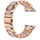For Apple Watch Band 42mm, Wearlizer Fashion Metal Wristbands Replacement iWatch Stainless Steel Strap for Apple Watch Series 3, Series 2, Series 1, Sport, Edition---42mm Rose Gold + Pink