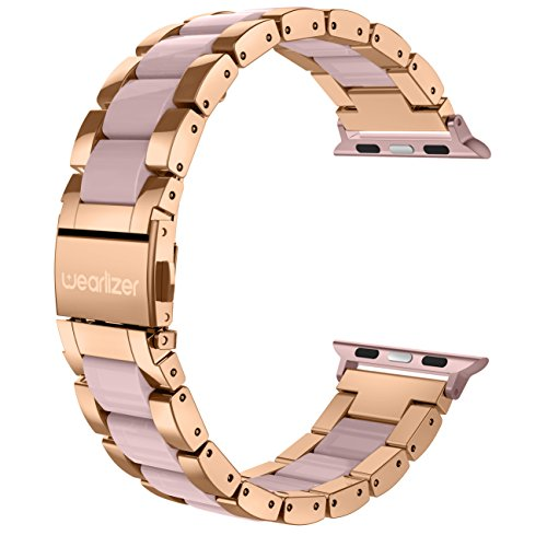 (Wearlizer Compatible with Apple Watch Band 38mm 40mm Fashion Wristbands Womens iWatch Stainless Steel and Resin Replacement Strap Bracelet Metal Clasp Series 4 3 2 1 Sport Edition-Dark Rose Gold+Pink)