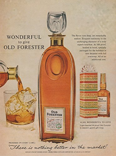 "1963 OLD FORESTER BOURBON WHISKY ""Wonderful to Give..."" VINTAGE COLOR AD - USA - NICE !!"