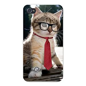 Apple Iphone Custom Case 6 4.7 White Plastic Snap on - Cute Business Kitty Cat Wearing Glasses, Necktie & Watch