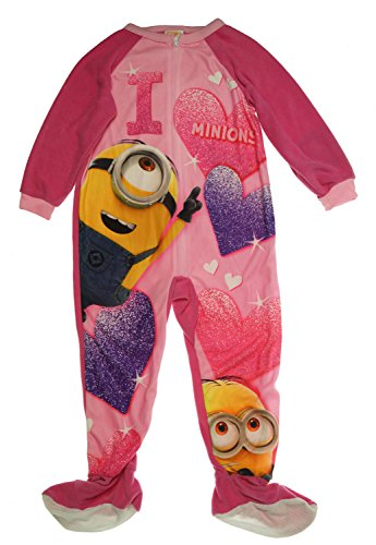 Despicable Me Girls' or Little Girls' One-Piece I Love Minions Pajamas (4) (Pink Minion)