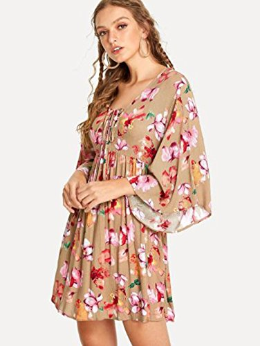Neck Short Cross Front V Multicolor Loose Deep Women's Floral Dress Mini Print Flare Milumia Sleeve C0qxZwPaC