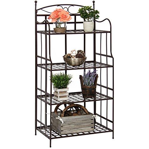 New Bronze Outdoor/Indoor 4-Tier Bakers Rack Storage Organizer (Wrought Standing Iron Basket)