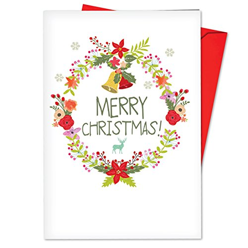 Happy Holly Wreath (B6653JXSG Box Set of 12 Watercolor Wreaths Funny Christmas Note Card Featuring Bright and Cheery Holiday Floral Wreaths Ringed with Bells and Holly; with Envelopes)