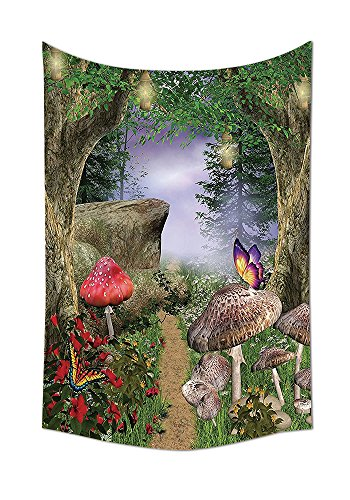 Forest Wall Tapestry Mushroom Decor Nature Pathway Butterflies Fairytale Landscape Rocks Street Design Bedroom Living Room Dorm Wall Hanging Beige Green Red (Halloween By The Name Iron Maiden)