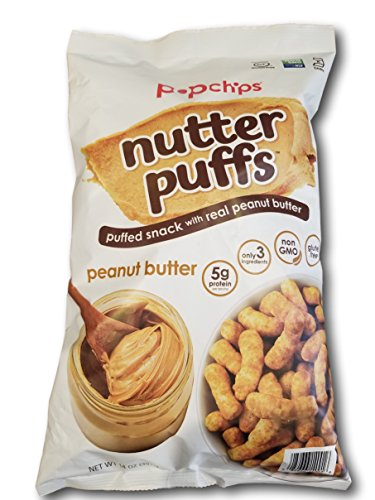 - popchips Nutter Puffs- Puffed Snack with Real Peanut Butter 14 oz bag