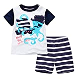 : Gold treasure little kids Short Sleeve Pajama set with cartoon Pirate Octopus ship (6T)
