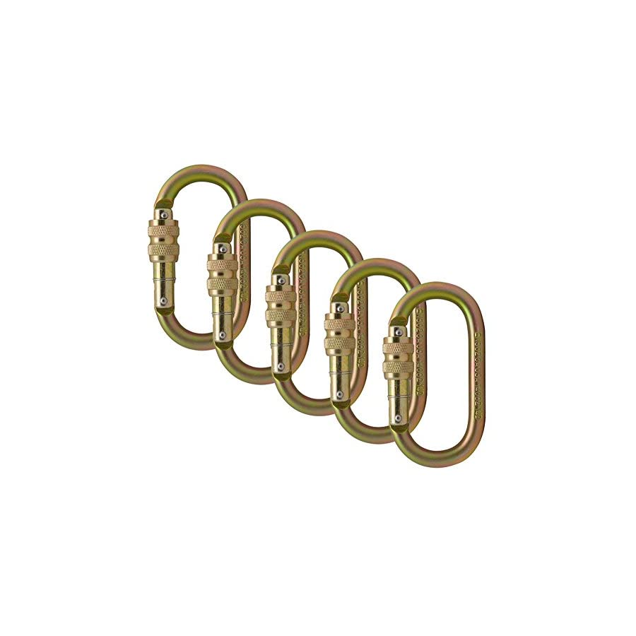 Fusion Climb Ovatti Steel Screw Lock Oval Shaped Carabiner 5 Pack