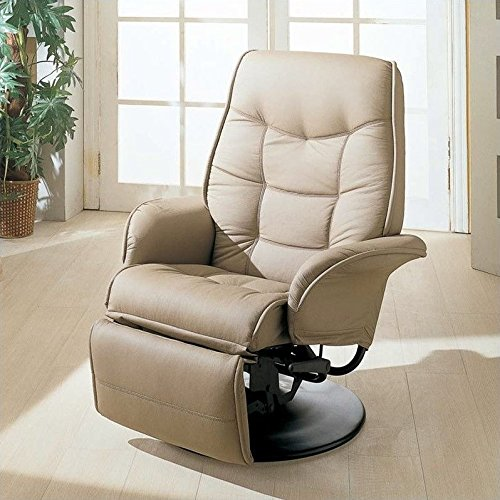 Black Leatherette Cushion Swivel Recliner (Coaster Swivel Recliner in Beige)