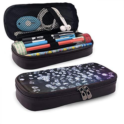 (Pencil Box, Large Storage Case, Diamond Leather Bag, Pencil Marker Pen Pocket, Double Zipper, Suitable for Schools and Offices)