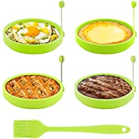 Egg Ring, TGJOR Egg Cooking Rings, Round Pancake Mold, Non Stick Silicone Ring for Eggs, 4 Pack Reusable Fried Egg Mold with an Oil Brush (Green)