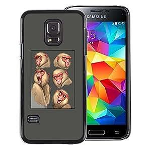 Red-Dwarf Colour Printing Ape Monkey Sketch Drawing Grey Animal - cáscara Funda Case Caso de plástico para Samsung Galaxy S5 Mini, SM-G800, NOT S5 REGULAR!
