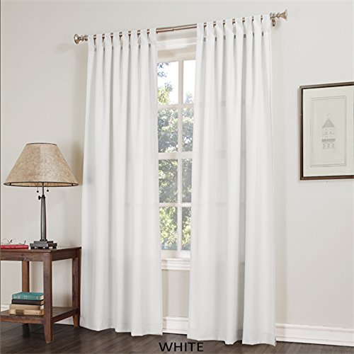 Jacob Basic Solid Tab Top Curtain Panel White 40W X 84L