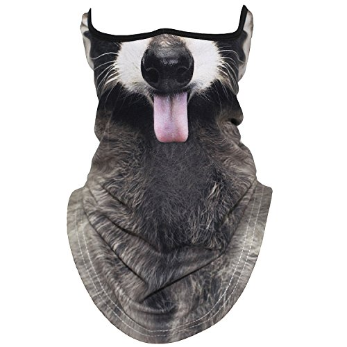AXBXCX Animal 3D Prints Neck Gaiter Warmer Half Face Mask Scarf Windproof Dust UV Sun Protection for Skiing Snowboarding Snowmobile Halloween Cosplay Funny Racoon