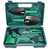 Gardening Tool Set Gifts 5 Piece Hand Garden Kit for Women and Men Gardener with Carrying Case - Green