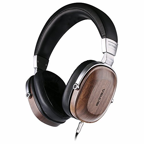 SIVGA SV006 Over Ear Headphones with Premium Wood and Hi-Fi Stereo, Closed Back and Studio Wired Headset with Passive Noise Cancelling, Built-in Mic, Soft Earmuffs and Carrying Case, Walnut (Stereo Wired Headset Premium)