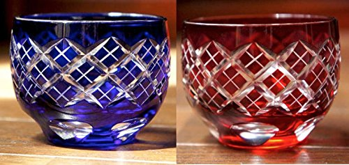 Japanese Edo-Kiriko (Cut Glass) Sake Cups A Pair of Kasane-yarai Pattern