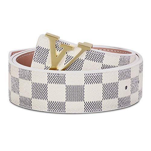 Leather Belt for Men Unisex Chess Grid Casual Business Belt for Jeans Pants Shorts with Gold Metal Buckle (Z-Grey/White, M:Suit for waist size 30