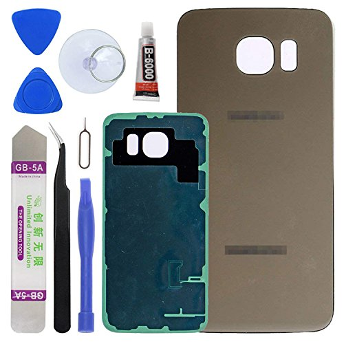 Housing Cover New (LUVSS New Back Glass Replacement [Samsung Galaxy S6] G920 (All Carriers) Rear Cover Glass Panel Case Door Housing Opening Tools Kit (Gold))